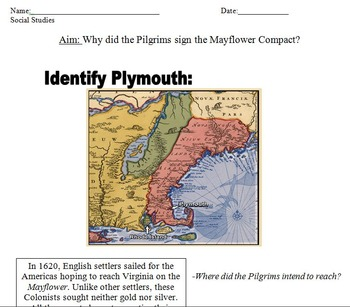 Pilgrims at Plymouth PowerPoint and Worksheet (Mayflower Compact included)