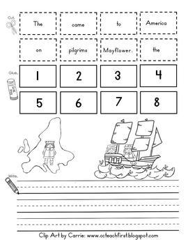 Pilgrims on the Mayflower Cut-Apart Sentence