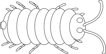 Pill Bug, Sow Bug, Roly Poly Bug Clip Art-Black Lines and Color