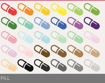 Pill Digital Clipart, Pill Graphics, Pill PNG, Rainbow Pill Digital Files