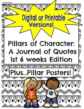 Pillars of Character: A Journal of Quotes (Digital/Printable Versions)