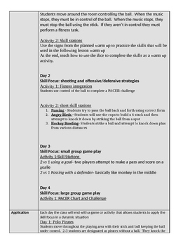 Pillo Polo Lesson PLans 4 day Unit grades 2/3