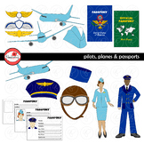 Pilots Planes and Passports Clipart by Poppydreamz