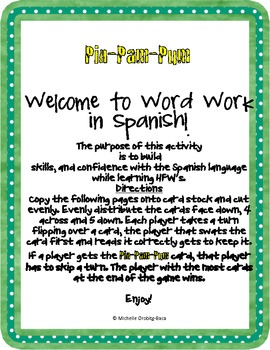 ¡Pin-Pam-Pum! HFW Game Challenge Words