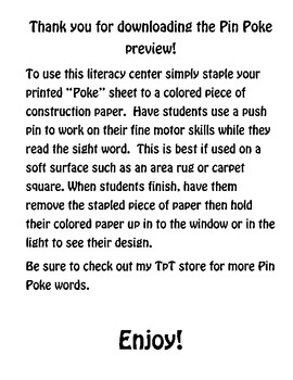 Pin Poke Dolch Words List 1 Free Preview