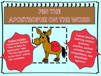 Pin the Apostrophe on the Word-Foldable, Teaching Slide, A