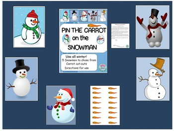 Pin the Carrot on the Snowman Game for Use all Winter!