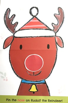 Pin the Nose on Rudolph Christmas Party Game Plus Bonus gift!