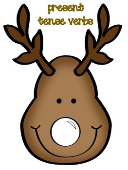 Pin the Nose on the Reindeer Verb Tenses Center FREEBIE