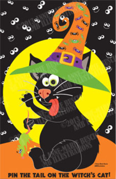 Halloween Clipart, Cat Clipart, Game Clipart Pin the tail on the Witch,  AMB-358