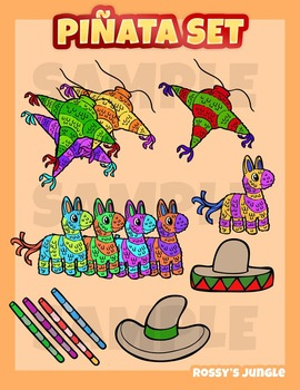 Pinata Mexico cinco de Mayo clip art set