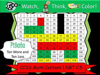 Pinata Ten More/Ten Less - Watch, Think, Color Game! CCSS.1.NBT.C.5
