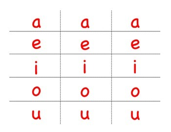Pinch Card Vowels
