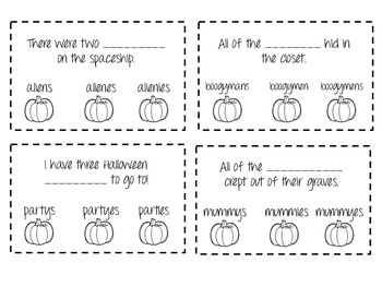 Pinch a Pumpkin - A Plural Noun Activity