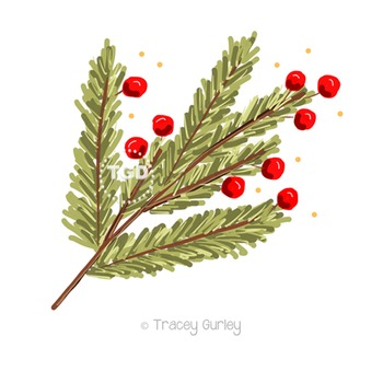 Pine Branch with Berries Printable Tracey Gurley Designs