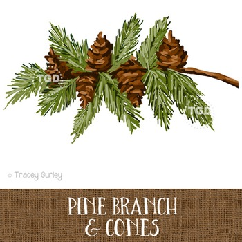 Pine Branch with Pine Cones Printable Tracey Gurley Designs