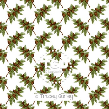Pine Branch with Pine cones Pattern Repeat on White digital paper Printable