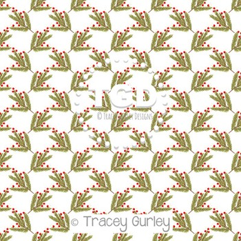 Pine Branch with Red Berries digital paper Printable Tracey Gurley Designs