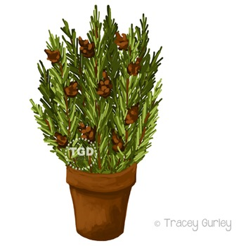 Pine Branches in Pot, holiday clip art Printable Tracey Gu