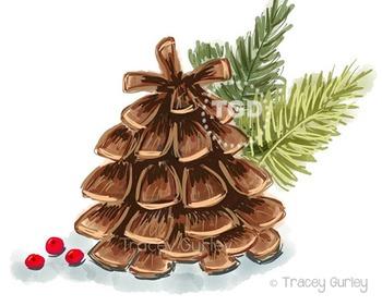 Pine Cone Illustration, Pine Cone Clip art, Printable Tracey Gurley Designs