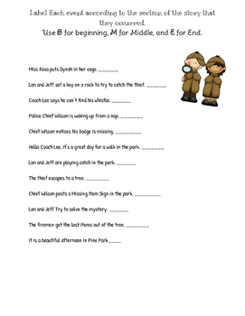 Pine Park Mystery- Beginning Middle End Writing and Sort