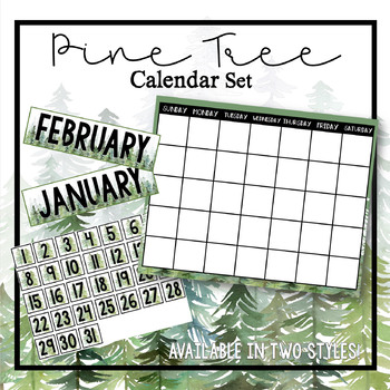 Pine Tree Forest Calendar Set, 20x16
