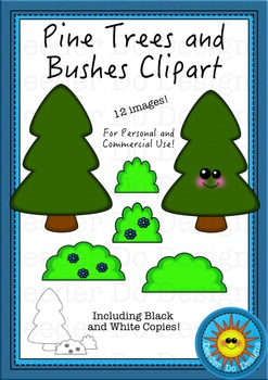 Pine Trees and Bushes Clip Art
