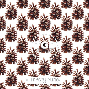 Pine cone Pattern Repeat on White digital paper Printable Tracey Gurley Designs