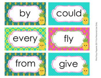 Pineapple 1st Grade Dolch Sight Wall Words