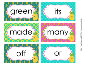 Pineapple 2nd Grade Dolch Sight Wall Words