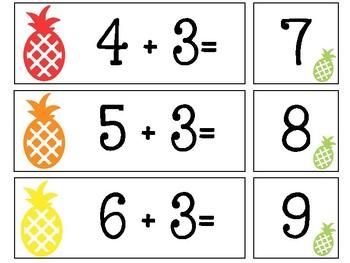 Pineapple Addition Cards {freebie}