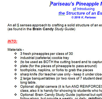 Essay Structure - Using all 5 senses! (Pineapple Approach)