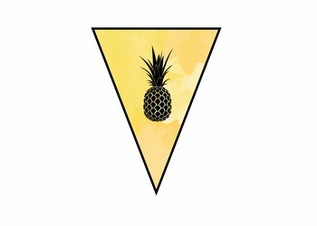 Pineapple Banner, Pineapple classroom decor, Tropical Decor, pdf