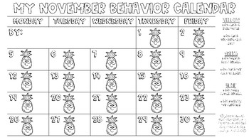 Pineapple Behavior Calendars