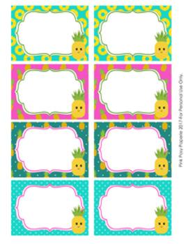 Pineapple Bin Labels Classroom Decor