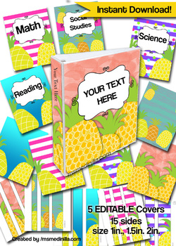 Pineapple Binder Cover Editable Teacher Binders, Sub Folder, Student Portfolio