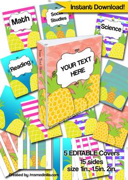pineapple binder cover editable teacher binders sub folder student