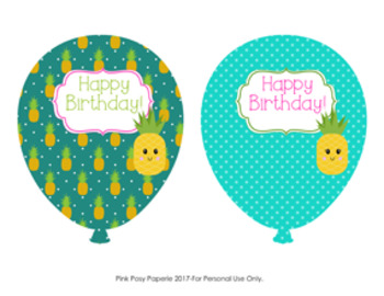 Pineapple Birthday Balloons