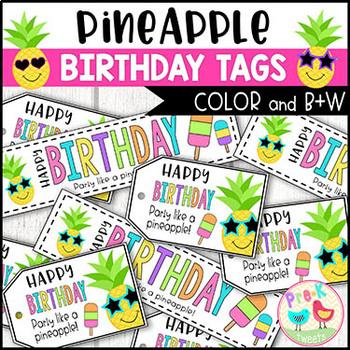 Pineapple Birthday Tags