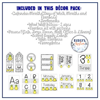 Pineapple Classroom Decor Editable Pack- Back to School