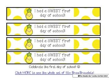 Pineapple Brag Bracelet First Day of School Free sample