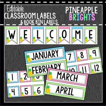 Pineapple Brights Classroom Decor & Book Bin BUNDLE
