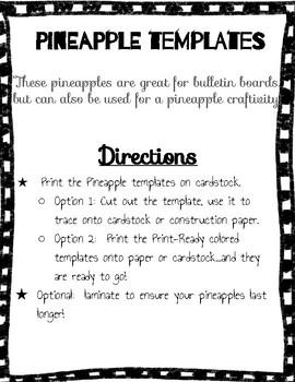 Pineapple Bulletin Board Cut-outs