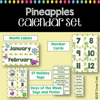 Classroom Decor Pineapple Calendar Set