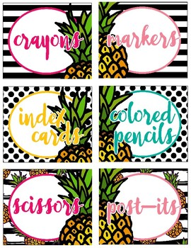 Pineapple Chic Collection: Classroom Labels