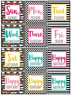 Pineapple Chic Collection: Classroom Wall Calendar Set