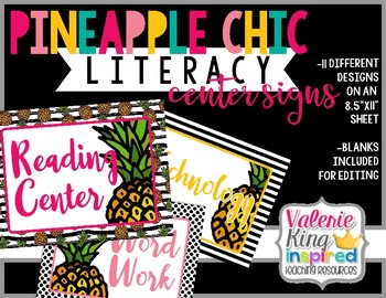 Pineapple Chic Collection: Literacy Center Posters / Signs