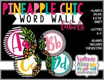 Pineapple Chic Collection: Word Wall Labels