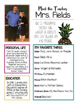 Pineapple Chic Meet the Teacher