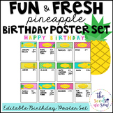 Pineapple Classroom Decor: Birthday Poster Set